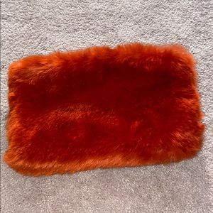 Rust Color Fuzzy Clutch Purse